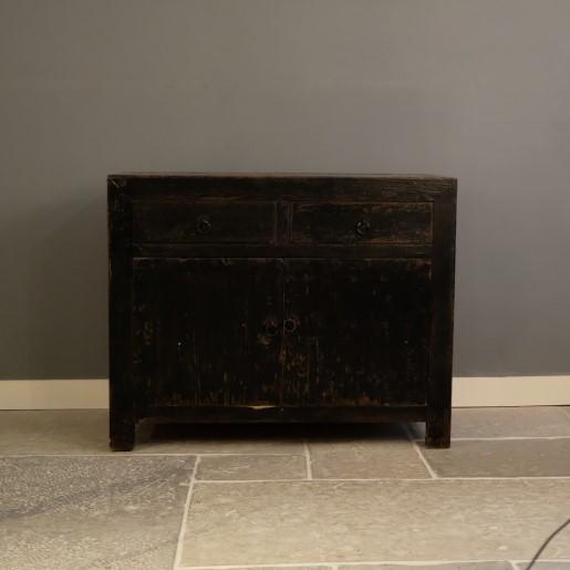 Kleiner Schwarzer Vintage Schrank