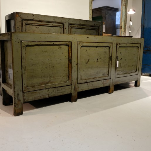 Green Lacquered Sideboard Low